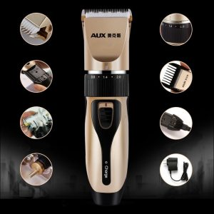 AUX A5 15pcs Rechargeable Hair Trimmer Thinning Flat cut Scissor Stylish Template Kit