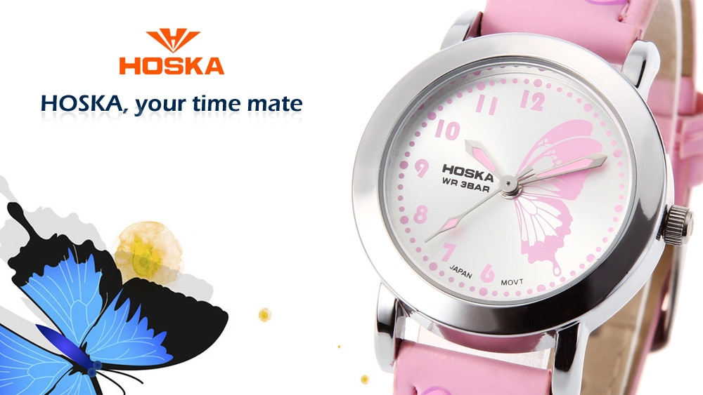 HOSKA H803S Kids Quartz Watch Butterfly Pattern Dial Leather Strap Wristwatch