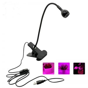 Household LED Grow Light with 360 Degrees Flexible Clip USB Power Supply Growing Lamp for Indoor Bonsai Planting