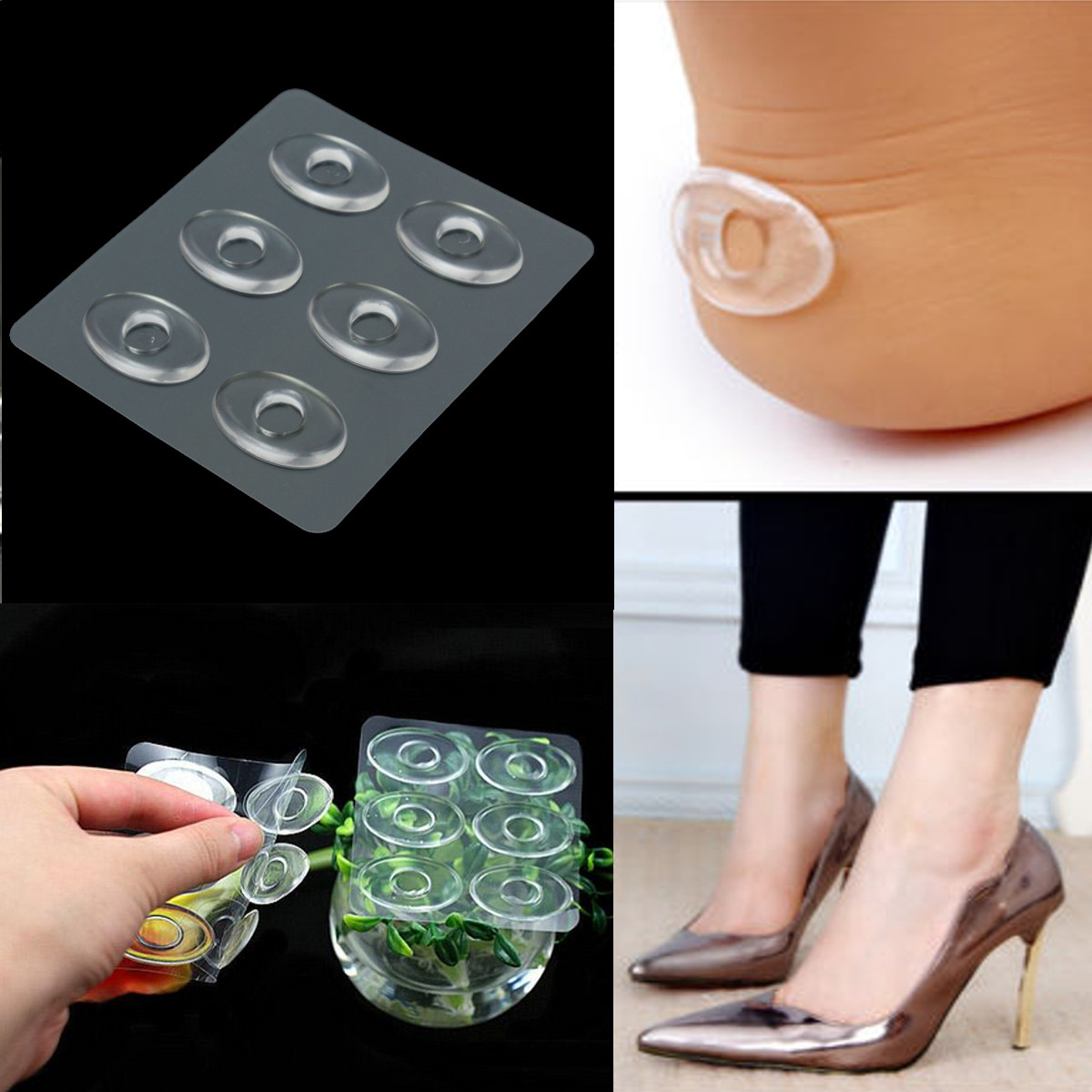 6Pcs Silicone Gel Shoe Insole Inserts Pad Cushion Foot Care Heel Grips Liner New