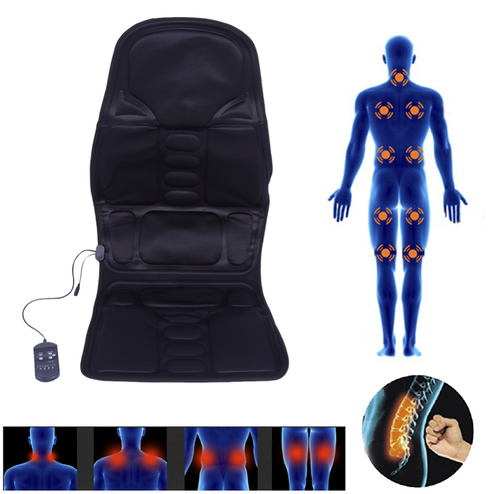 Electric Back Neck Massage Chair Seat Auto Car Home Office Full-Body Lumbar Massage Chair Relaxation Anti Stress Pad Seat Heat