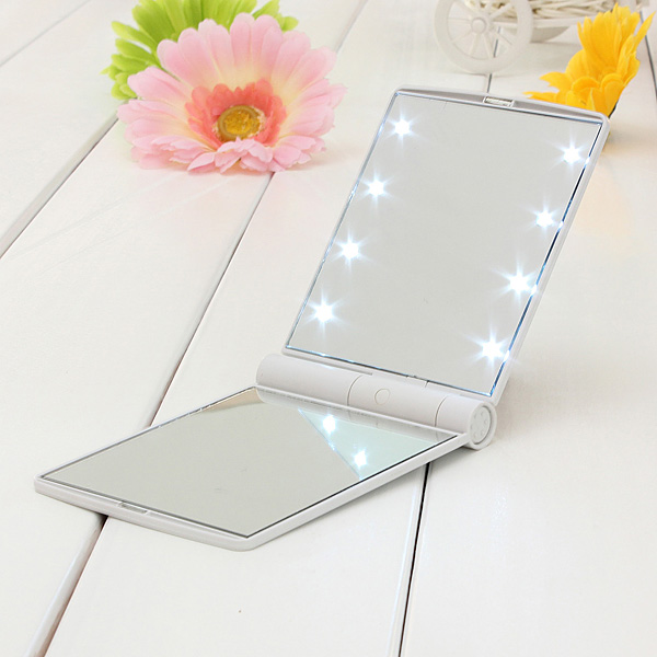 Double Sided 8 LED Lights Makeup Cosmetic Foldable Mirror
