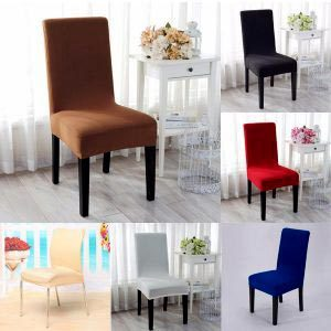 Elegant Jacquard Fabric Solid Color Stretch Chair Seat Cover Computer Dining Room Kitchen Decor