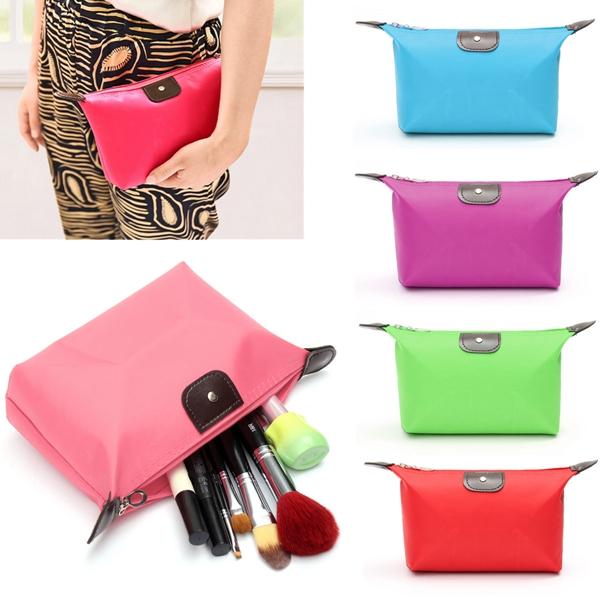 Candy Color Waterproof Nylon Makeup Cosmetic Pouch Zipper Bag Case Organizer Storage Travel