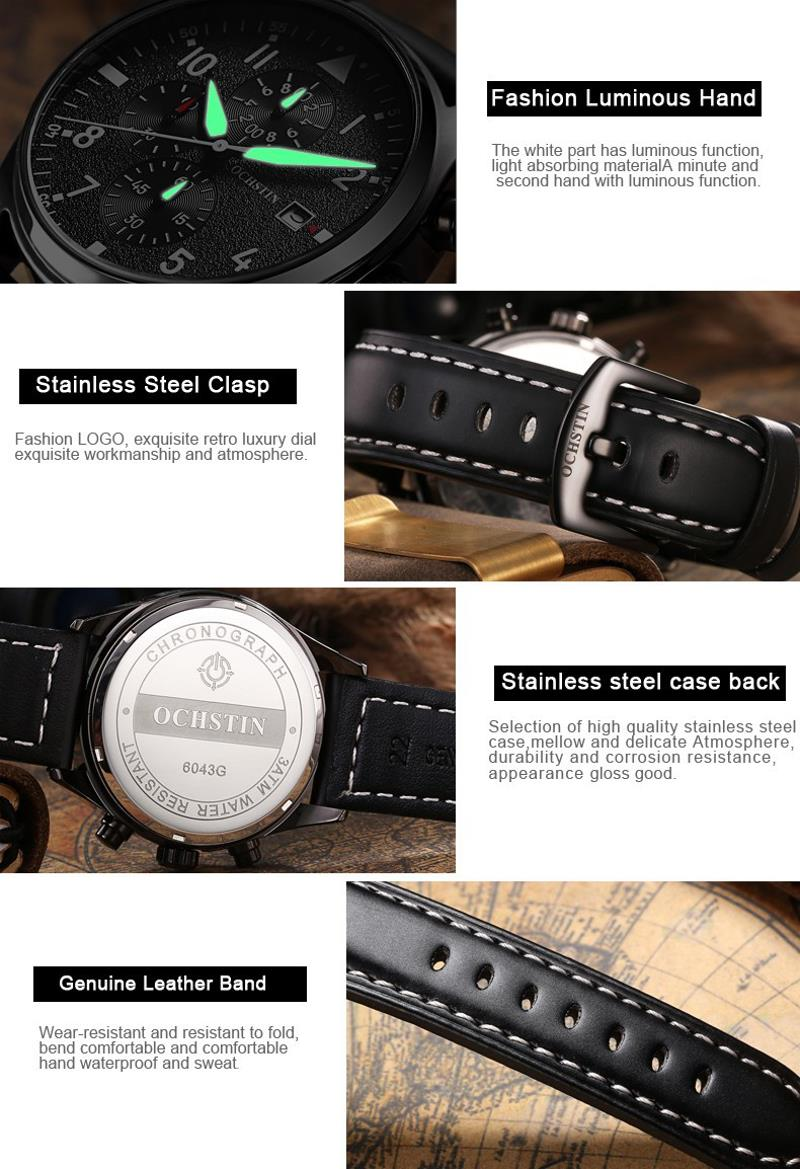 OCHSTIN GQ043B Fashion Leather Strap Men Quartz Watch Luxury Multifunction Business Watch