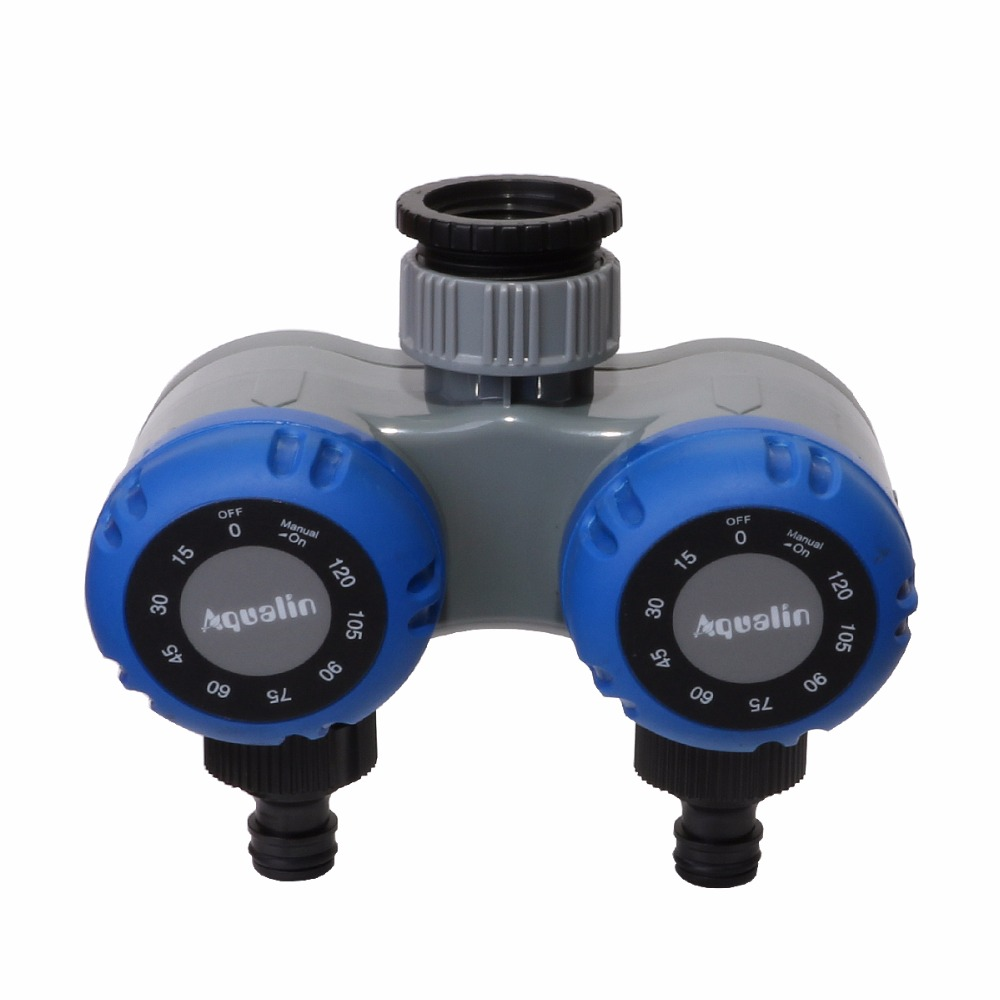 Aqualin Garden Irrigation Dual-Outlet Mechanical Plastic Water Timer Controller for Hose Faucet No Batteries Required