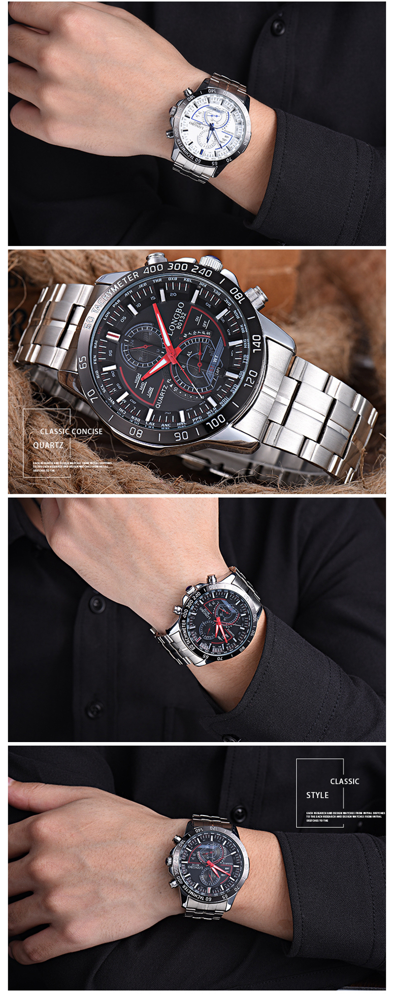 LONGBO 80132 Men Watch Stainless Steel Luminous Fashion Casual Quartz Wrist Watch