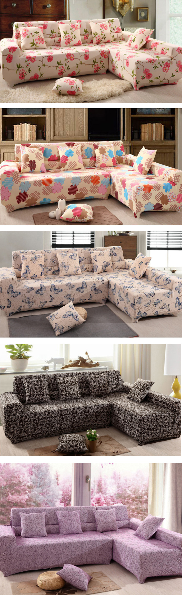 Four Seater Textile Spandex Strench Flexible Printed Elastic Sofa Couch Cover Furniture Protector