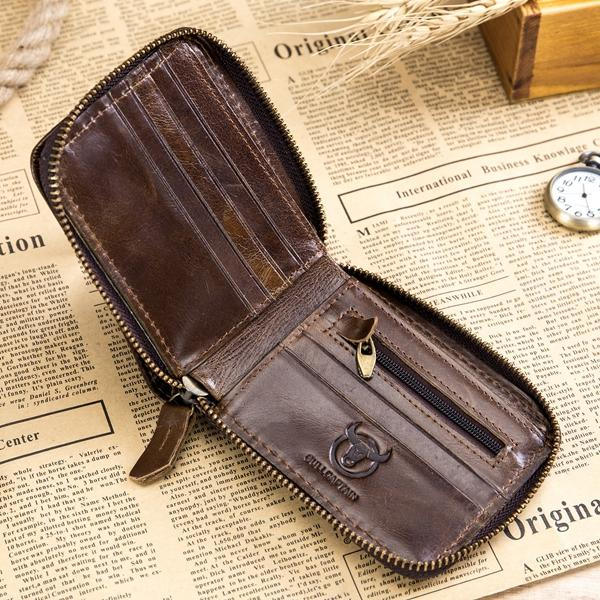 59282ae77a Bullcaptain RFID Antimagnetic Vintage Genuine Leather 11 Card Slots Coin  Bag Wallet For Men - VolgoPoint