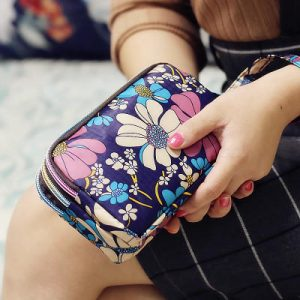 Waterproof Nylon Patchwork Three Zipper 5.5 inches Phone Bag Flower Bag Clutch Bag Ladies' Purse