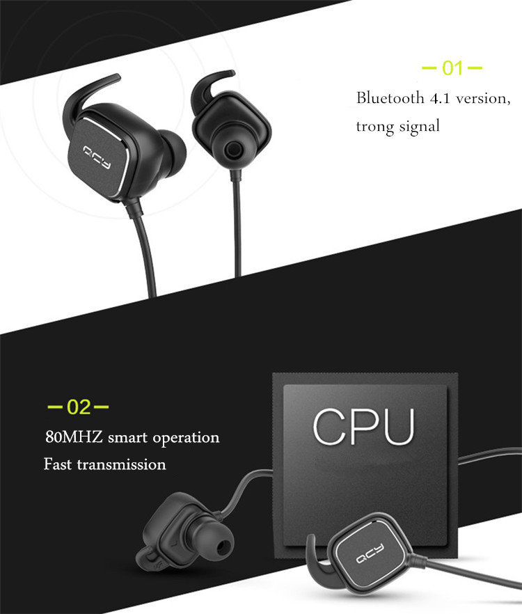 NEW QCY QY12 Sport Stereo Magnetic Adsorption Bluetooth 4.1 Headphone Earphone