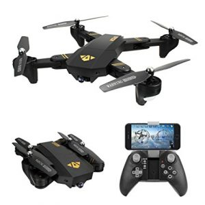TIANQU XS809W Foldable RC Quadcopter - RTF - BLACK WITH THREE BATTERIES, 2MP CAMERA + AIR PRESS ALTIT