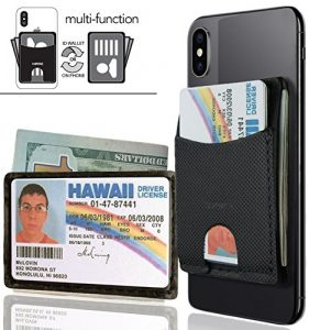 AIRstik Wallet Universal Phone or ID Credit Card Holder Reusable Micro Suction Leather MADE IN USA by KAPOTAS- BK