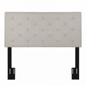 (US HEAD BUTTON DIA BEIGE) LANGRIA Full/Queen Button Tufted Linen Upholstered Headboard with Diamond Stitching, 3 Height Adjustable