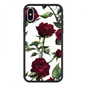 Blooming Love Rose Pattern Soft Hard 2 in 1 Matte Phone Case for iPhone X