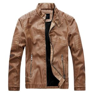 Mens Stand Collar Vintage Faux Leather Jacket Thick Warm Motorcycle Coat
