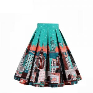 High Waisted Printed Pleated Skirt - GREEN+ORANGE