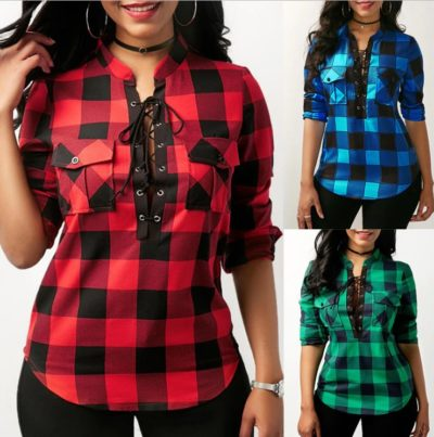 IYAEGE Blouse Women 2018 Spring Plaid Shirts Casual Long Sleeve Blouse Sexy Lace Up Office Women Blouse Tunic Tops Blusas 5XL