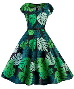 Vintage Tropical Print Pin Up Dress - GREEN