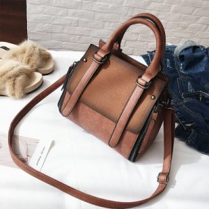 Tinkin PU leather women handbag vintage tote bag panelled stone women shoulder bag messenger bag