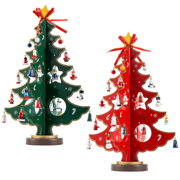 3d Wooden Cartoon Christmas Tree Table Diy Decorations Hanging Ornaments Volgopoint