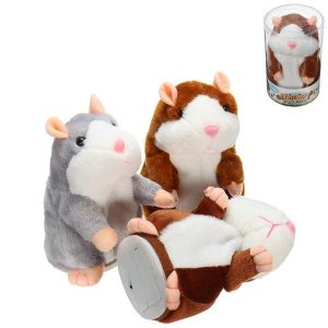 Mimicry Talking Hamster Pet 15cm Christmas Gift Plush Toy Cute Speak Sound Record Hamster Stuffed Animal Toys - Grey