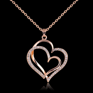 Summer style Rose gold color Crystal Double Heart Pendant Luxury Jewelry Love heart Necklaces Valentine's Day Wedding Jewelry