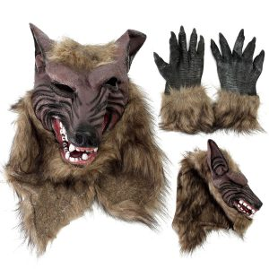 Latex Rubber Wolf Head Hair Mask Werewolf Gloves Party Scary Halloween Cosplay - #01