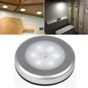 Wireless Ultra-Thin 6 LED PIR Motion Sensor LED Wall Night Light Battery Power for Wardrobe Cabinet - White