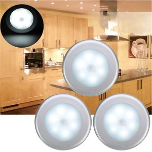 3pcs Battery Powered PIR Motion Sensor 6 LED Night Light White/Warm White Lamp for Hallway Cabinet - white