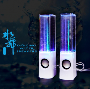 HAOBA LED Light Dancing Water Speaker Music fountain Light Speakers for PC Laptop Phone Desk Stereo Notebook PC