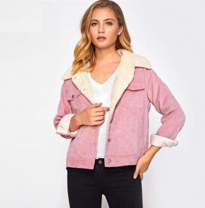 Dotfashion Pink Pocket Sherpa Lined Cord Jacket Female Casual Autumn Single Breasted Turn-down Collar Plain Preppy Spring Coat