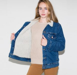 Sherpa Lined Jacket Women Unisex Borg Lined Denim Jacket