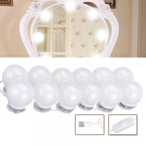 USB LED Mirror Makeup Party Light with 12 Dimmable White Lamp Bulb for Dressing Room DC5V