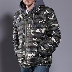 Mens Winter Camouflage Thicken Jacket Waterproof Drawstring Zipper Design Hooded Coat