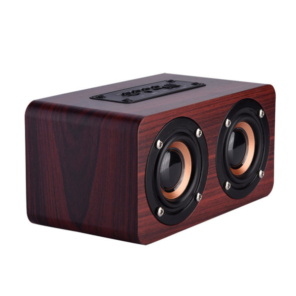 Portable Wooden Wireless Bluetooth Speaker Dual Units TF Card Stereo Bass Loudspeaker Subwoofer