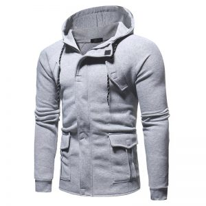 Mens Fashion Drawstring Multi Pockets Hoodies Zipper Design Fit Long Sleeve Sweatshirts