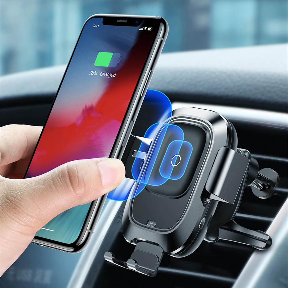 big sale bbd25 674c3 Baseus Infrared Sensing Car Phone Holder for iPhone XS XR QI Wireless  Charger Air Vent Bracket - VolgoPoint