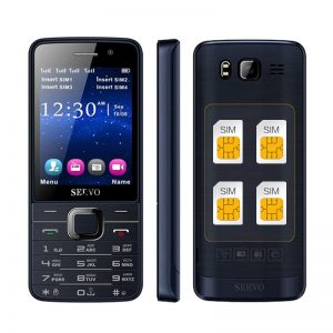 SERVO V9500 2.8 Inch HD Large Screen 1100mAh 64MB+64MB 4 Sim Cards 4 Standby FM GPRS Feature Phone