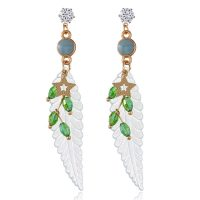 Fashion Feather Earring Star Rhinestones Acrylic Dangle Earrings Gift for Girls Women
