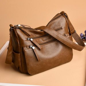 Women Soft Faux Leather Solid Hobos Crossbody Bag Multi-Slot Shoulder Bag