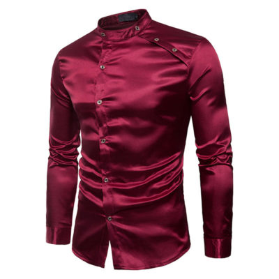 Mens Casual Stand Collar Long Sleeve Slim Fit Solid Color Shirts