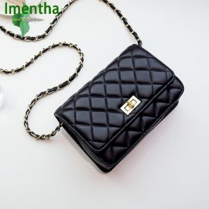 2018 soft black leather bags women's handbags multi-slot crossbody bag