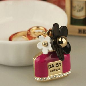 NEW keychain car Trendy High-quality Rhinestones Metal Perfume Bottle Daisy Flower Bag and Car Keychain for Women