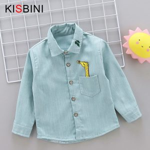 KISBINI Autumn Baby Boys Shirts Catoon Long Sleeve shirt Boys Tops Cotton Printed Giraffe London Bridge Kids Age 2 3 4 Years