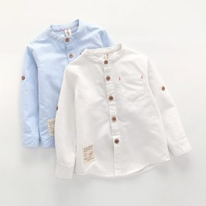 Baby Boy Collar Shirt British Children Solid Cotton Tops New Long Sleeve School Blouse Kid Clothes White Shirts for Toddler Boys