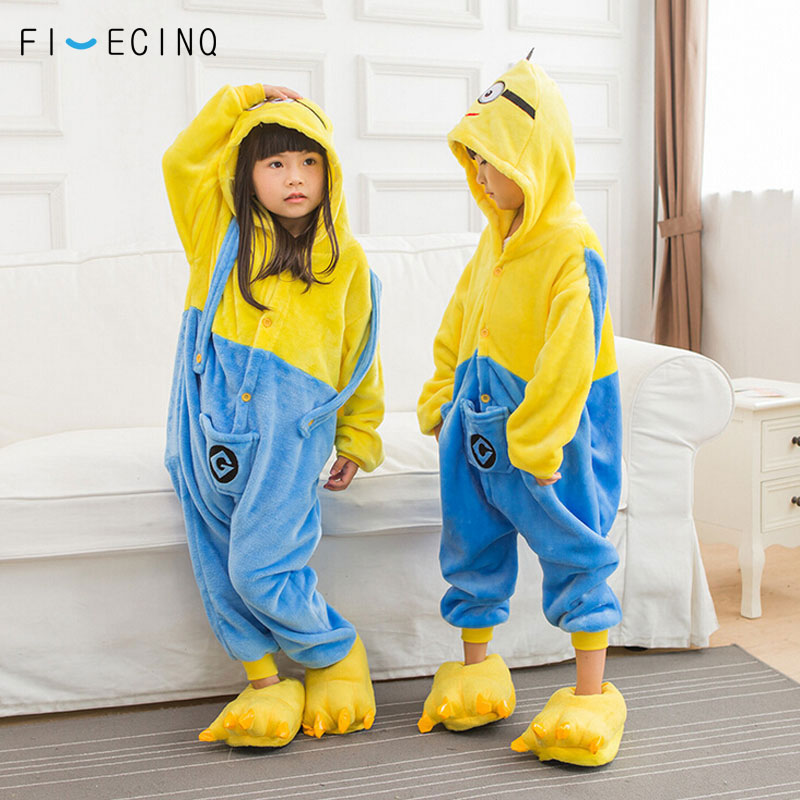 c8d49360a Minions Kigurumi Kids Onesie Anime Cartoon Cosplay Costume Boy Girl ...