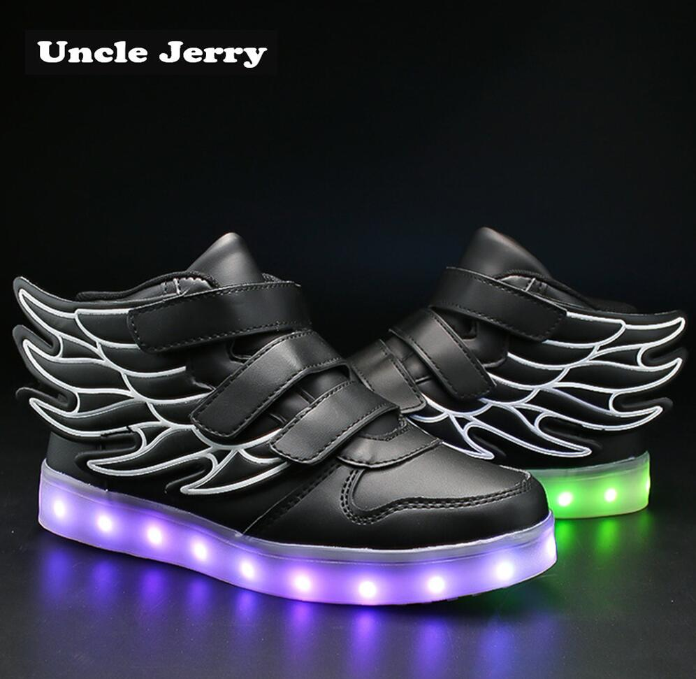 899808f54cff UncleJerry Kids Light up Shoes with wing Children Led Shoes Boys Girls  Glowing Luminous Sneakers USB