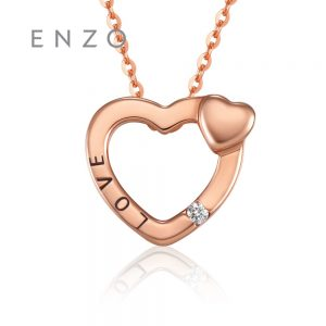 ENZO Real Solid 18K Rose Gold (AU750) Charms 1PC/0.01CT Diamond Women Necklace Pendant Classic Love Hearts Cristmas Jewelry
