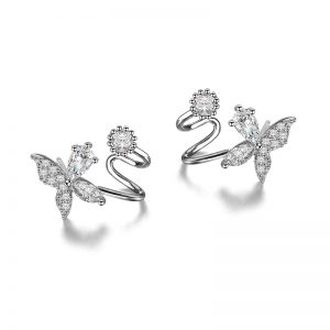 Women's Zircon Butterfly Stud Earrings Ladies Small Luxury Crystal Ear Cuff Earrings For Woman Jewelry Cristmas Gift